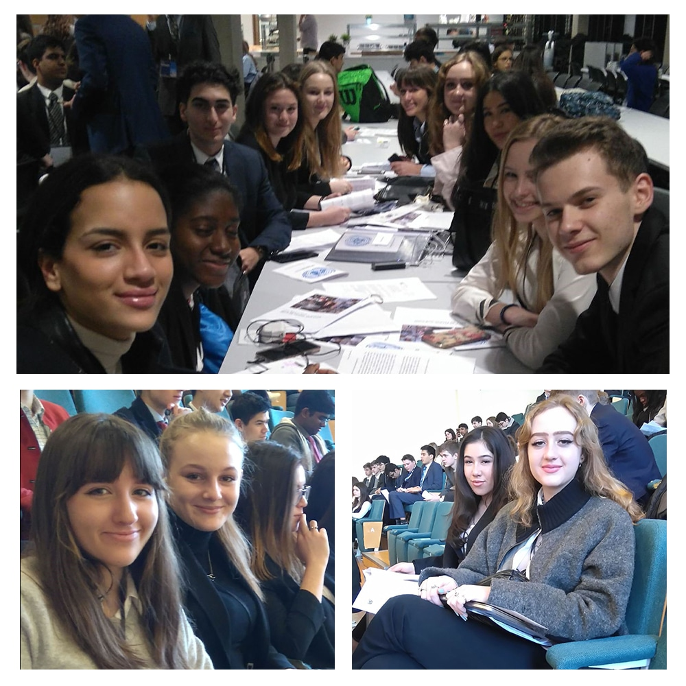 Collage of images of students at the Model UN 2020
